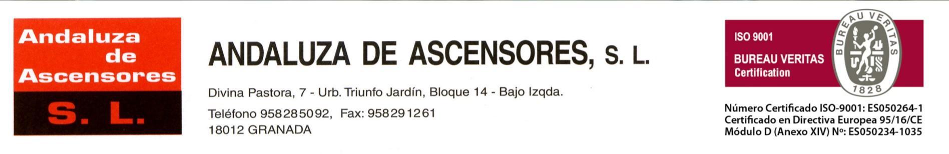Andaluza de Ascensores, certificada por Bureau Veritas
